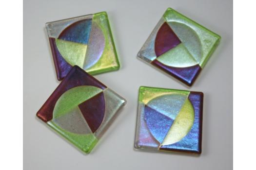 Trident Coaster Set; Lime/Sienna/Grey