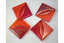 Wink Coaster Set; Red/Orange